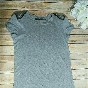 Zara Evening Collection Grey Tee with Sequins&bead